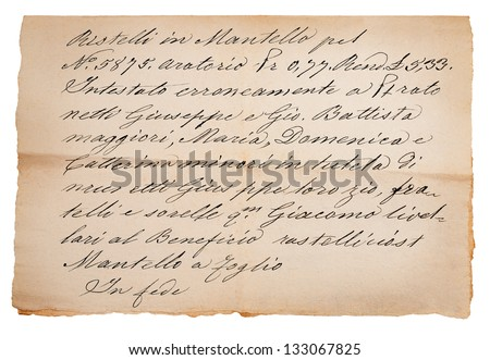 Old manuscript isolated on white - stock photo
