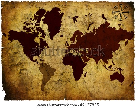 old manuscript of world map of the world - stock photo