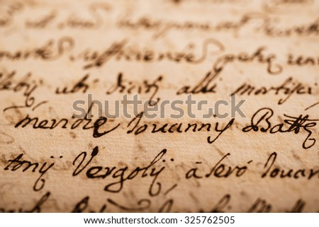 old manuscript on old dirty sheet - stock photo