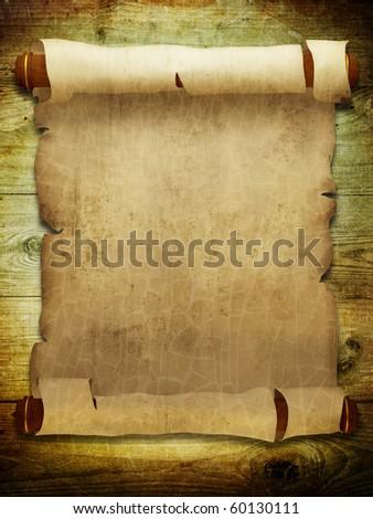 Old manuscript on wooden planks - stock photo