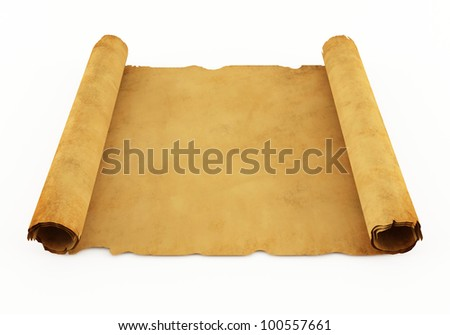 Old manuscript or ancient scroll - stock photo