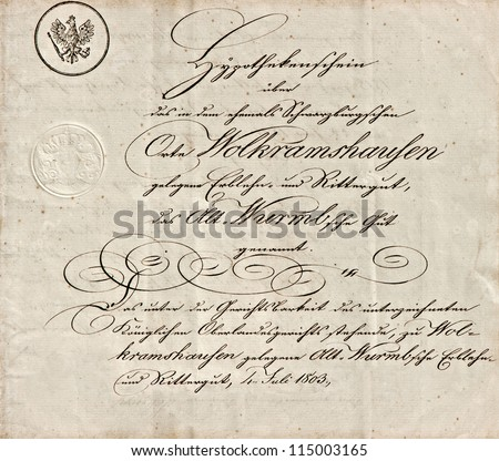 old manuscript with calligraphic handwritten text. grunge vintage paper background - stock photo
