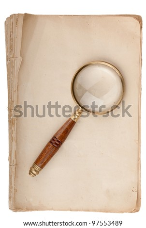 Old manuscript with loupe and copy space isolated on white background - stock photo
