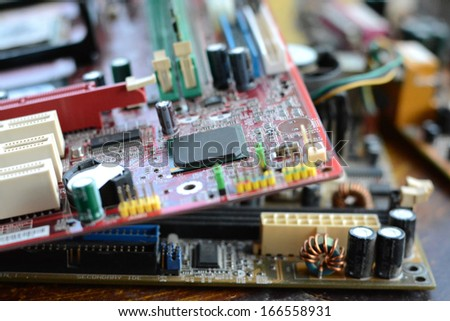 old many mainboard computer - stock photo