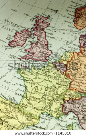 Old map (about 100y) of Britain and France.