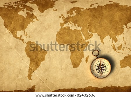 Old map and compass - 3D generated - stock photo