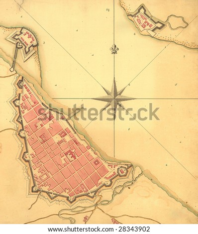 Old map and Compass Rose - stock photo