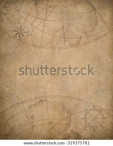 old map background with copyspace in center - stock photo