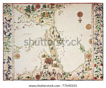 Old map based on South-Eastern Asia Portolano, by Jean Roth, Dieppe, Haute Normandie, ca. 1540. - stock photo