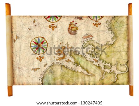 Old map isolated - stock photo