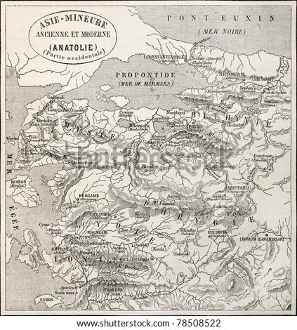 Old map of Anatolia. Created by Erhard and Bonaparte, published on Le Tour du Monde, Paris, 1864 - stock photo