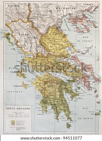 Old map of Ancient Greece. By Paul Vidal de Lablache, Atlas Classique, Librerie Colin, Paris, 1894 - stock photo