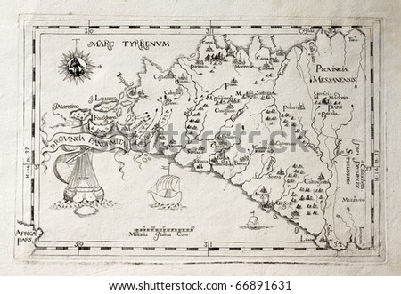 Old map of Capuchins province of Palermo, Sicily. The map may be dated to the 17th c. - stock photo