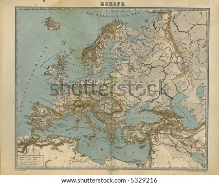 Old Map of Europe 1867