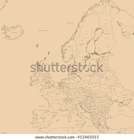 Old map of Europe | Contour detailed Europe political map with cities - stock photo