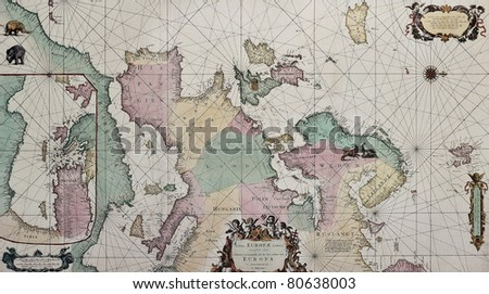 Old map of Europe with eastern Mediterranean insert map. Created by Louis Renard, Published in Amsterdam, 1675 - stock photo