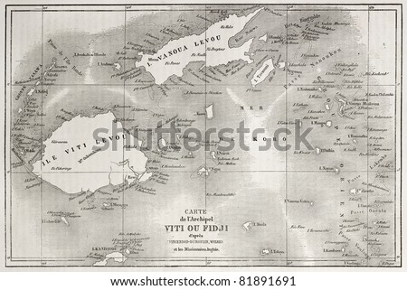 Old map of Fiji islands. Created by Erhard and Bonaparte after Vincendon, Dumoulin, Wilkes and British Missionaries, published on Le Tour du Monde, Paris, 1860 - stock photo