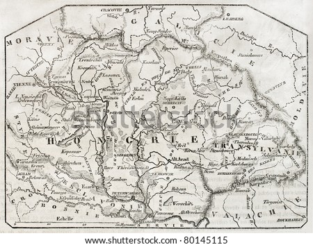 Old map of Hungary. By unidentified author, published on Magasin Pittoresque, Paris, 1850 - stock photo