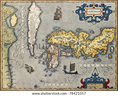 Old map of Japan. From Gerand and Rumold Mercator Atlas. Created by Joducus Hondius. Published in Amsterdam, 1620 - stock photo