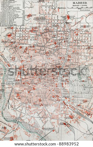 Old map madrid end 19th century stock photo download now 88983952 old map of madrid at the end of 19th century picture from meyer lexicon books gumiabroncs Gallery