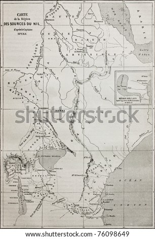 Old map of Nile sources region. Created by Erhard and Bonaparte, published on Le Tour du Monde, Paris, 1864 - stock photo
