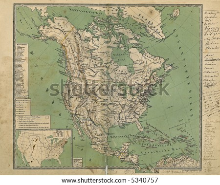Old Map of North America 1867 - stock photo
