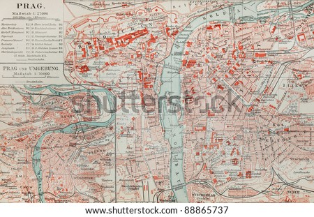 Old map of Prague at the end of 19th century. Picture from the original  Meyers Lexicon (written  German language) book edition 1908. - stock photo