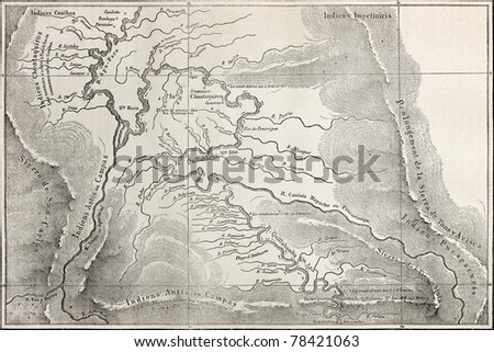 Old map of Quillabamba region, Peru. Created by Marcoy, published on Le Tour du Monde, Paris, 1864 - stock photo