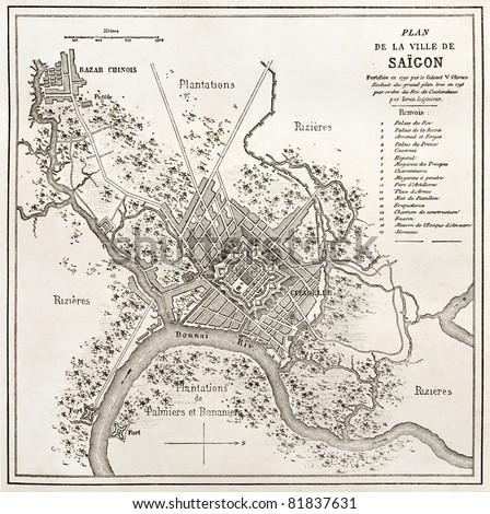 Old map of Saigon. Created by Erhard and Bonaparte, published on Le Tour du Monde, Paris, 1860. - stock photo