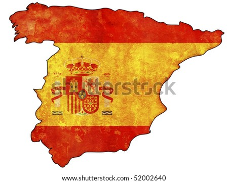 old map of spain with flag on country territory
