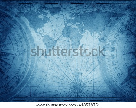 Old map of the world. Elements of this Image Furnished by NASA. - stock photo