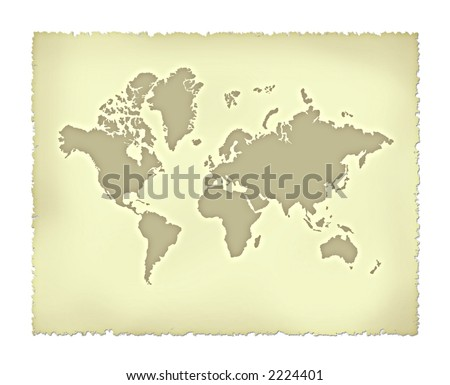 Old map of world - stock photo