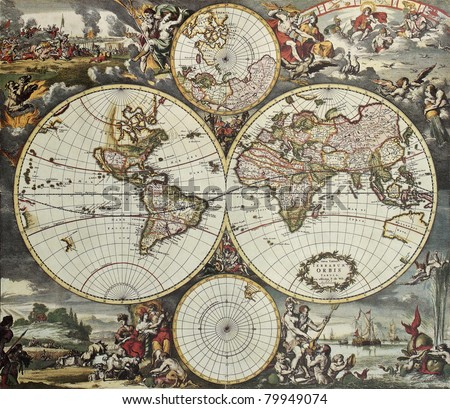 Old map of world hemispheres. Created by Frederick De Wit, published in Amsterdam, 1668 - stock photo