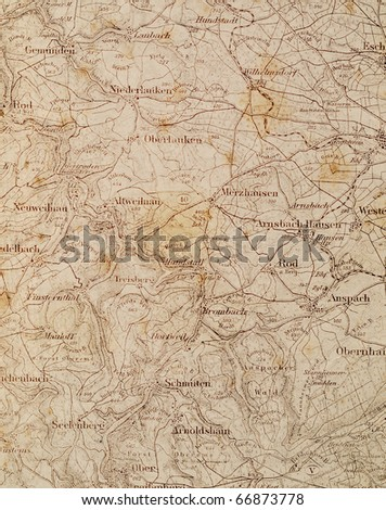 Old map Old German tourist map on white background - stock photo