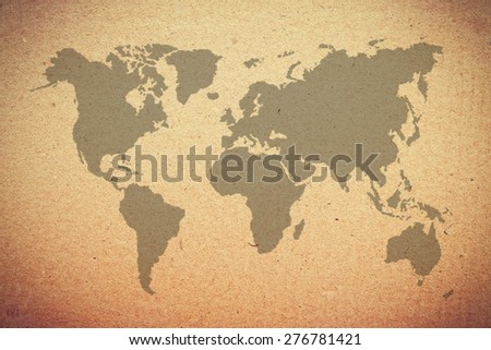 old map on brown paper. - stock photo