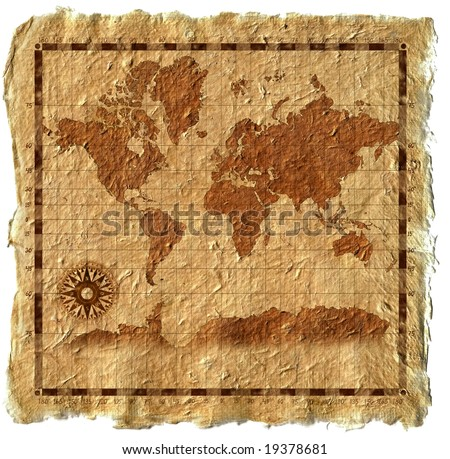 Old map on canvas with wind rose