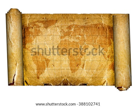 old map on the white backgrounds - stock photo