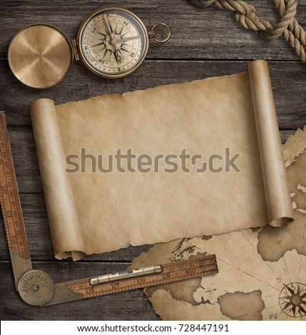 Old map scroll with compass. Adventure and travel background concept. 3d illustration.