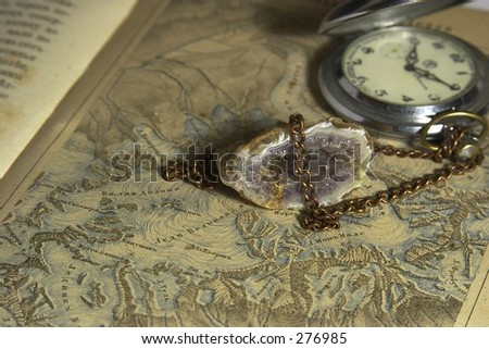 old map, watch and druze - stock photo