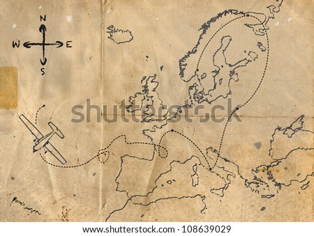Old map with plane route - stock photo