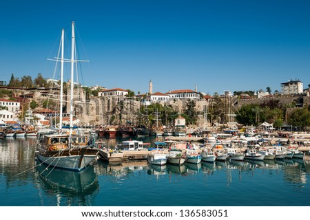 Old marina of Antalya. no names of boats and unrecognizable faces! - stock photo
