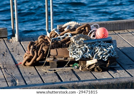 Old Marine Chain and Tackle - stock photo