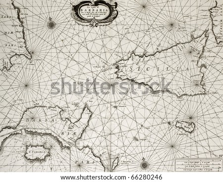Old maritime map of North Africa coast and South Mediterranean, around Sicily, Sardinia, Malta and Cape Bon, including an insert map of Tabarka island. May be dated to the second half of 17th c. - stock photo
