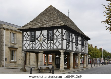 Old market hall in the main street of Wootton Bassett. Wiltshire. England - stock photo
