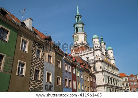 Old market square in Poznan in a spring morning, Poland