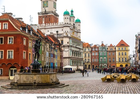 Old market square in Poznan in a summer day, Poland