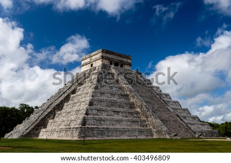 old mayan mexico monument  chichen-itza in cancun - stock photo