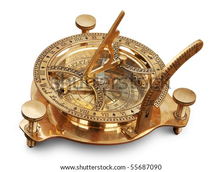 Old measuring instrument for navigation isolated. Clipping path included. - stock photo