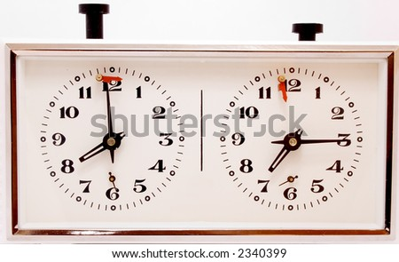 old mechanical clock for chess with time control - stock photo
