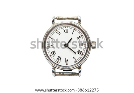 old mechanical clock on a white background - stock photo